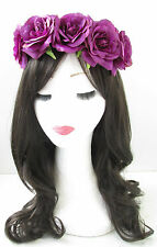 Purple Rose Flower Hair Crown Headband Vintage Garland Sugar Skull Large T62