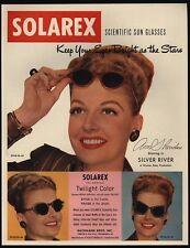1948 ANN SHERIDAN Wears Retro 1940's SOLAREX Scientific Sun Glasses VINTAGE AD