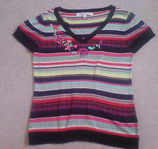 Clements Ribeiro Size Large Stripe Short Sleeve Embellished Jumper