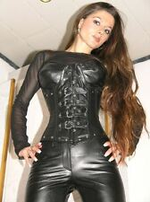 GENUINE Leather corset Basque Gothic black MS Real Leather Leather Corset 9797