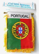 PORTUGAL MINI POLYESTER INTERNATIONAL FLAG BANNER 3 X 5 INCHES