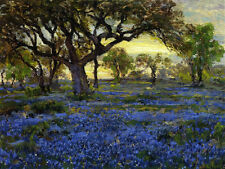 Old Live Oak Tree and Blue Bonnets ... by Onderdonk  Paper Print Repro