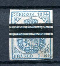 1854.ESPAÑA.EDIFIL 34AS*.BARRADO.AZUL CLARO.CAT 180 €