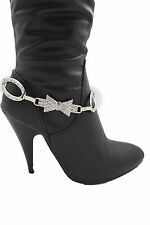 Women Boot Bracelet Metal Chains Silver Bow Oval Anklet Western Bling Shoe Charm
