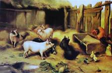 Edgar Hunt Pigs and chicks, on farm vintage art