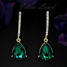 Cute 18K Gold Plated GP Green Crystal Bridesmaids Drop Dangle Earrings 648 Party