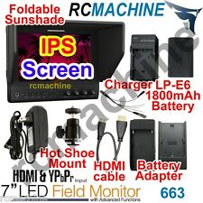 """Lilliput 7"""" 663 IPS 1080P HDMI HD Monitor+LP-E6 BATTERY+charger fr Canon 5D2 5D3"""