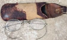 Antique Wire Rim Round Rx Spectacles With Vintage Case.Old.Flexible Eye Glasses