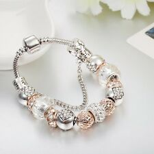 BEAUTIFUL SILVER CHARM BRACELET WITH SILVER & ROSE GOLD CHARMS PLUS HEART CLIP