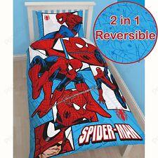 MARVEL SPIDERMAN PARKER SINGLE DUVET COVER SET REVERSIBLE BEDDING BOYS NEW