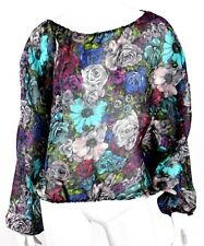 LANVIN Resort 2010 Multi-Color Floral Gazar Silk Peasant Blouse 40
