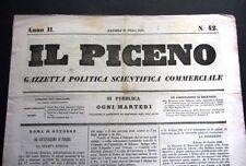 1848 IL PICENO gazzetta politica scientifica commerciale Ancona ORIGINALE RARA