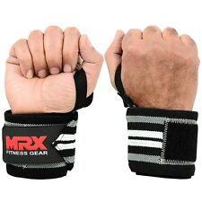 POWER WEIGHT LIFTING TRAINING WRIST SUPPORT WRAPS GYM BANDAGE STRAPS GREY WHITE