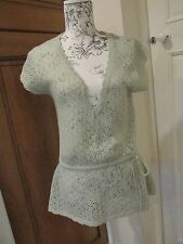 PAPAYA LADIES SIZE 14 MINT GREEN KNITTED VINTAGE STYLE TOP WRAP STYLE