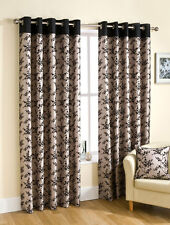 Alice Floral Flock Print Faux Silk Ready Made Eyelet Curtains - Aubergine, Black