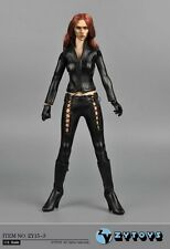 ZY TOYS 1/6 ZY15-3 Black Leather Battle Suit For Black widow Phicen Body NEW
