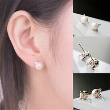 1 Pair Fashion Womens Korea Elegant Cute Pearl Cat Kitten Head Stud Earrings