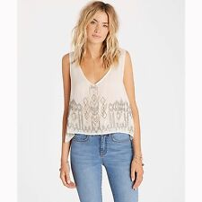 2016 NWT WOMENS BILLABONG SPELL BOUND TANK TOP $60 M white cap beaded detail