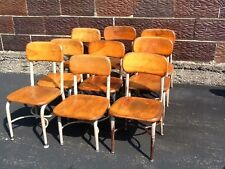 Lot Of 9 Vintage Heywood Wakefield Small Wood / Metal School Chairs - Very Good