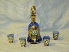Vintage Italian Glass Cobalt Blue Cordial Set Gold Decanter Raised Enamel