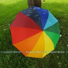 Colorful Rainbow 3 Folding Windproof Anti UV/Rain Women Wedding Umbrella/Brolly
