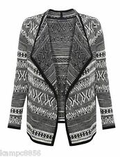 New M&S Collection Black & Cream Open Front Navajo Print Cardigan Sz UK 12