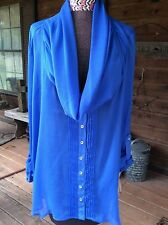 NWT Democracy women XL royal blue sheer oversized blouse with cowl neck-$64 orig