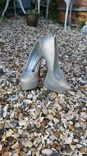 Ladies Shoes Silver Glitter High Heels Bridal Party Ball Cruise New Year Xmas 6