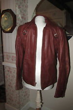 Vintage Retro Cafe Saxony Leather Biker Motorcycle Jacket Sz 36 RARE!!