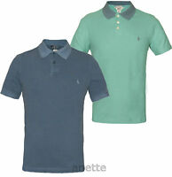 ORIGINAL PENGUIN BNWT Mens Polo Shirt Two Tone Blue Cotton Branded Buttons Slim