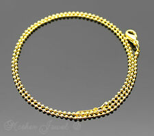 SHORT 40CM 18K YELLOW GOLD GP LADIES MENS GIRLS BOYS BALL LINK CHAIN NECKLACE