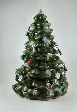 "Christmas Tree Tea Light Candle Holder with Ornaments 6"" Tall"