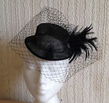black veiling feather sinamay mini top hat fascinator millinery wedding party