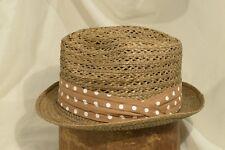 Lightweight 50's Knox Summer Open Weave Medium Brown Straw Fedora Size 7 1/8