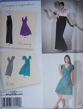 color block Day Evening DRESS PATTERN  gown straight full v-neck summer 6-14