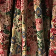 PAIR SANDERSON SANDERSONS ENGLISH COUNTRY ROSE & PEONY COTTON CURTAINS LINED