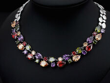 14k White Gold GF Necklace made w/ Authentic Swarovski Crystal Multicolor Stone