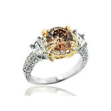 Bijou En Or Bague Avec Diamants Coloris Cognac, Nature 18 Carats 750er Or Blanc