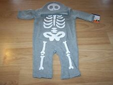 Size 0-3 Months Skeleton Jumpsuit  & Cap Hat Gray White Halloween Costume Outfit