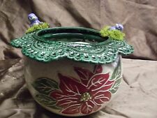 Handpainted African Violet Pot Blue Birds and Poinsettias