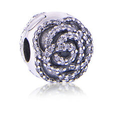 New Genuine Pandora Silver Shimmering Rose Clip Charm 791529CZ Authentic