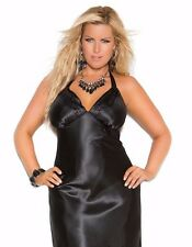 Women Plus Long Nightgown 1X Black Charmeuse Satin Halter Lingerie Nightie Sexy