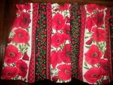 Red Plaid Poppies Poppy Stripes Flowers fabric curtain Valance