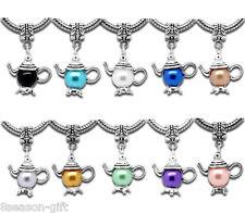 HX 10Mixed(10Colors) Teapot Dangle Bead Fit Charm Bracelet