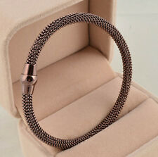 Magnetic Clasp Stainless steel Spring cable Mesh Chain Bracelet Bangle Women