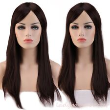Long Straight Curly Wavy Hair Wig Women Cosplay Full Wig Pink Black Brown Blonde