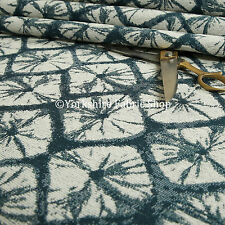 New Geometric Stone Marble Pattern Cream Blue Colour Chenille Upholstery Fabric
