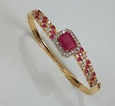 Indian Ethnic Fashion Jewelry Red Bracelets Bangle CZ Stone Gold Silver Plated
