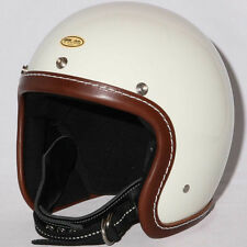 TT&CO. Leather 3/4 Open Face Motorcycle Helmet Vintage Style DOT BR/IV