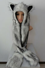Cute Fuzzy Faux Fur Animal Wolf Cat Hat with Mitten Gloves Earmuff Plush Beanie